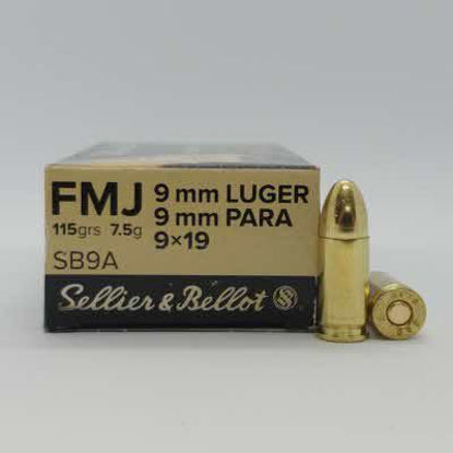 Ammo 9mm Luger 115gr Round Nose Sellier & Bellot